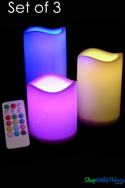 LED Flameless Pillar Candle Set of 3 - Multi Size - Multi Color & Function - With Remote!