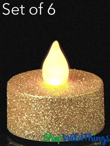 COMING SOON! LED Flameless Tea Light Candles - Gold Glitter - Set of 6 - 1/2""