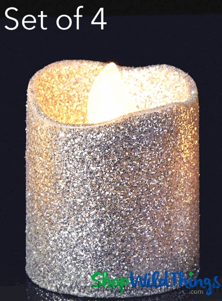 LED Flameless Votive Candles - Silver Glitter - Set of 4 - 1 1/2""