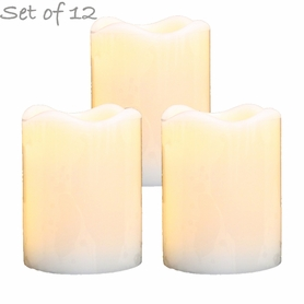 "LED Flameless Wax Pillar Candles - Ivory - Set of 12 - 3 1/2"" Tall"