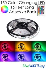 LED Flexible Light Strip w/Adhesive Back - Plug-In, Remote - RGB 16.3 Feet Long