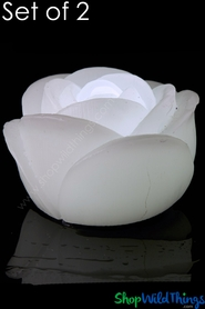 "LED Floating Rose Flickering Wax Candles, 2 3/4"" Wide, White -  2 Per Set"