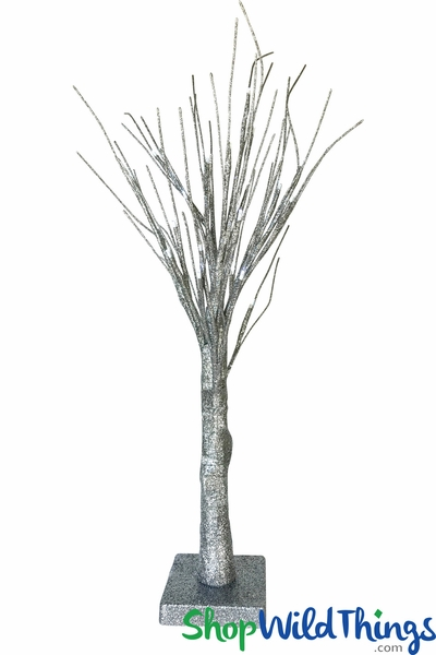 LED Glitter Tree - 24 Cool White Lights - Silver 2' - Battery Operated