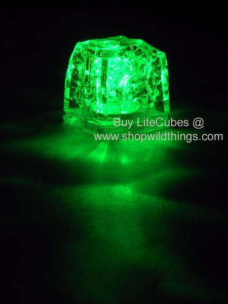 LED Ice Cube LiteCubes - Green Light - Flashing or Steady - Waterproof, Freezable