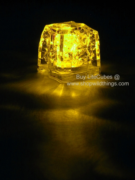 LED Ice Cube LiteCubes - Yellow Light - Flashing or Steady - Waterproof, Freezable