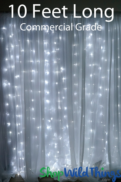 LED Light Curtain - 200 Pure White Lights, 10 Strands, 4' W x 10' L, Professional (Fabric Optional)