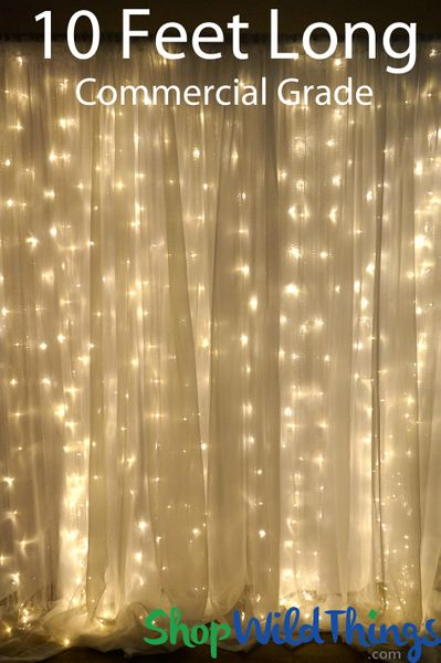 COMING SOON! LED Light Curtain -200 Warm White Lights, 10 Strands, 4' W x 10' L, Professional (Fabric Optional)