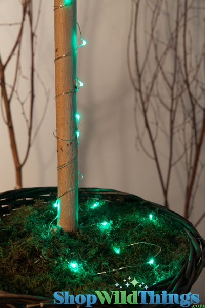 """LED Light Strand TEAL GREEN - Waterproof - 72"""" Long - Battery Operated - 19 Lights"""