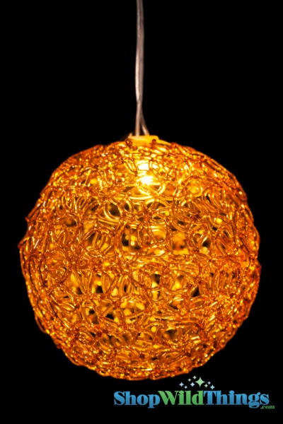 """CLEARANCE! LED Lighted Sparkle Ball Orb 4"""" - Amber Brown - Battery Operated, Waterproof, Timer"""