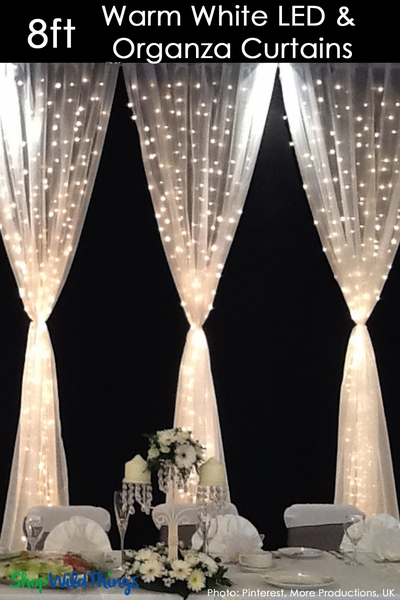 White Organza Curtain With 200 Built In Led Lights Wedding Photo Prop Wildthings