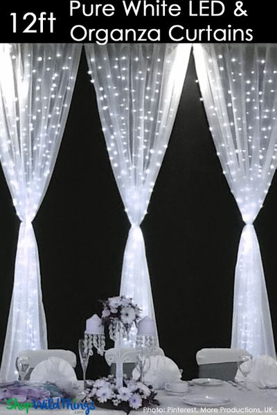 COMING SOON! LED Organza Curtain - 288 Lights - 3' x 12' - Pure White (Fabric Included)