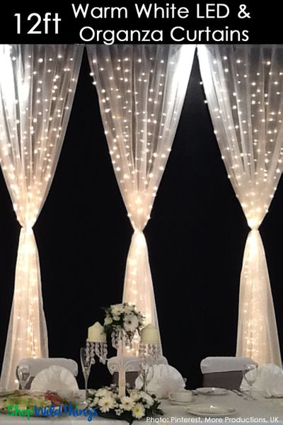 Sheer White Fabric Curtain With 288 Led Lights 12 Long