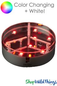 "LED Colored Light Base w/Remote - 4"" RGB & White Lights"