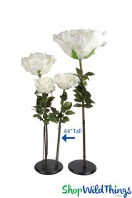 "Oversized Large Silk Rose Bloom w/Removable Stem - Ivory - 44""H x 14""W"