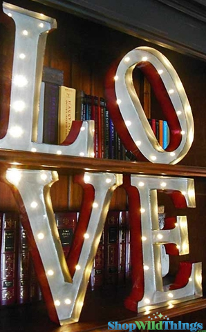 "Vintage Marquee Sign - Lighted ""LOVE"" Letters Sign - 15"" High Set of 4 - Battery Operated - Metal Body"