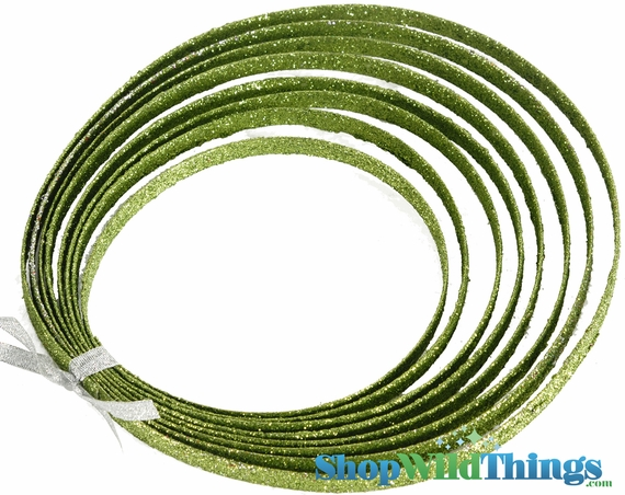 1 LOT AVAILABLE! CLEARANCE Lime Green Glitter Rope - Double Sided 5 Yards - 75 Pcs!