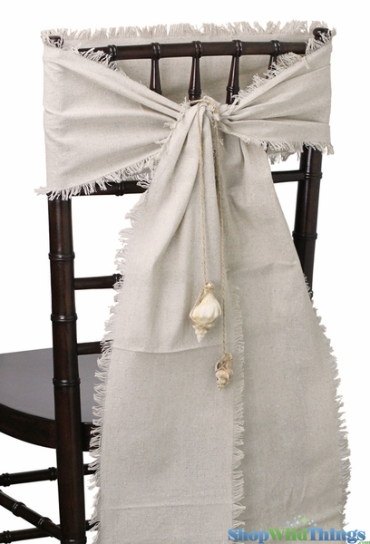 "Linen Chair Sash or Table Runner - Natural w/Fringed Edge - 8"" x 108"""