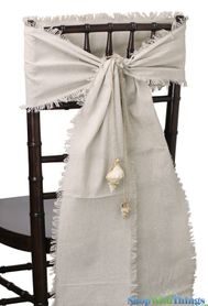 """Linen Chair Sash or Table Runner - Natural w/Fringed Edge - 8"""" x 108"""""""