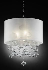"""Loft"" Glass & Silver Chandelier - 18"" x 23"" - 3 Lights - Hardwire"
