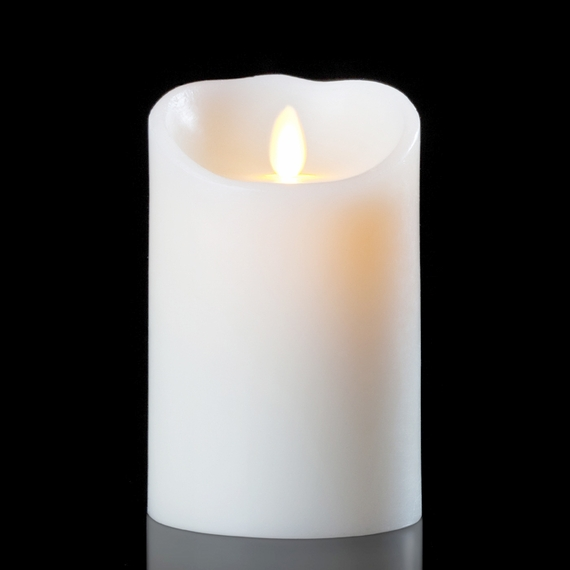 Luminara Wax Candle - White 3.5 x 5  - With Timer - Remote Ready - Amazing Flame!