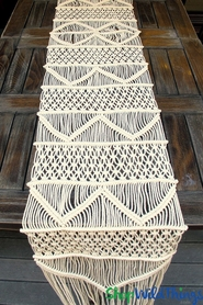 Macrame Tapestry Table Runner Ivory 1' x 9' (Extra Long)