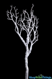 "Manzanita Glitter Tree Branch - Silver - 28"" Long"