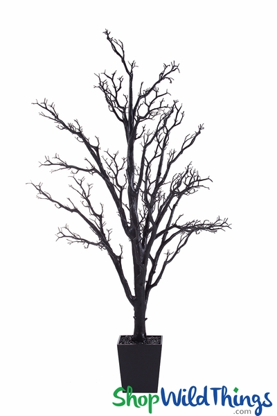 Artificial Manzanita Tree in Pot, 6 Feet Tall - Black (Bendable!)