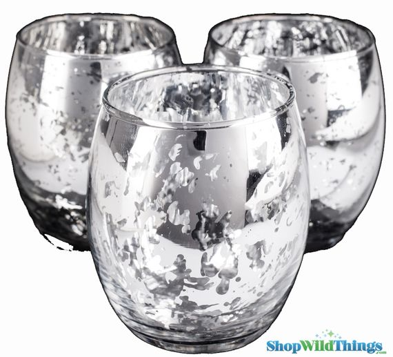 "Mercury Glass Candle Holders ""Analisa""- Set of 12  - 2.75"" x 3.25"" - Silver"