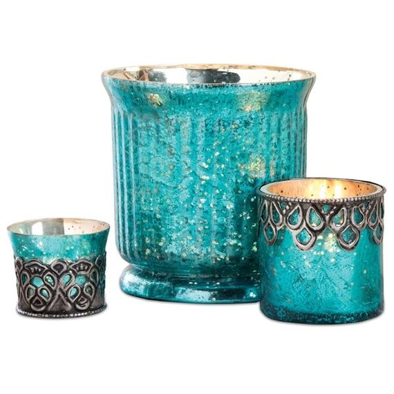Mercury Glass Candle Holders Assorted Vintage Shapes - Set of 3 - Turquoise