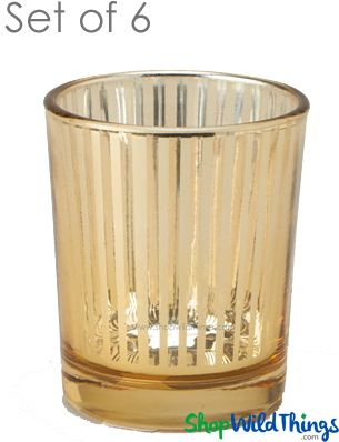"Mercury Glass Candle Holders - ""Destiny"" Small - Set of 6 - 2 1/2"" Tall - Gold Stripe"