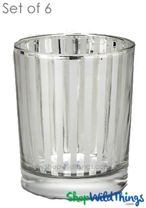 "SALE! Mercury Glass Candle Holders - ""Destiny"" Small - Set of 6 - 2 1/2"" Tall - Silver Stripe"