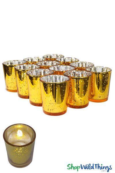 "Mercury Glass Candle Holders ""Josie"" Gold � Set of 12"