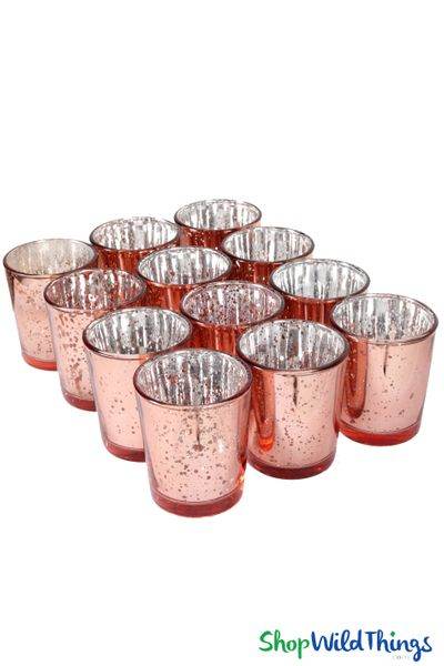 "Mercury Glass Candle Holders ""Josie"" Rose Gold � Set of 12"