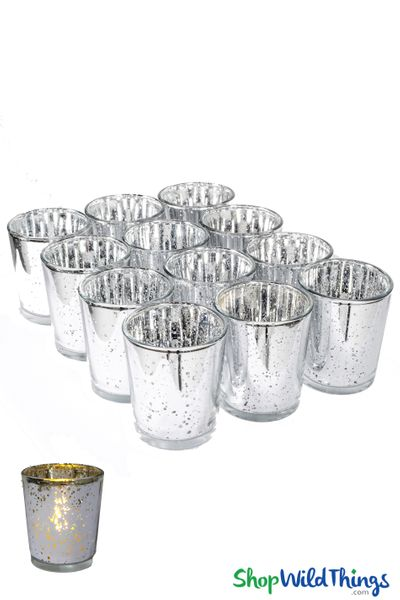 """Mercury Glass Candle Holders """"Josie"""" Silver � Set of 12"""