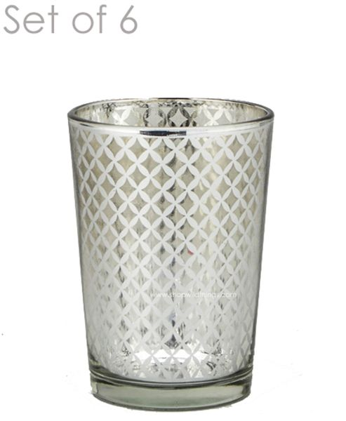 "Mercury Glass Candle Holders - ""Kylie"" Medium - Set of 6 - 3 3/8"" Tall - Silver Lattice"