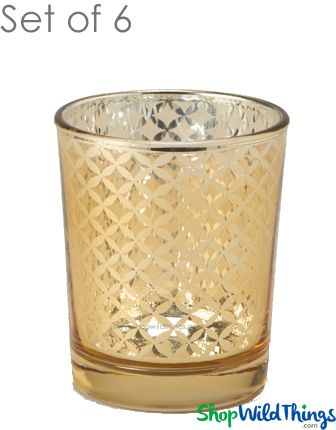 "Mercury Glass Candle Holders - ""Kylie"" Small - Set of 6 - 2 1/2"" Tall - Gold Lattice"