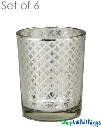 "Mercury Glass Candle Holders - ""Kylie"" Small - Set of 6 - 2 1/2"" Tall - Silver Lattice"