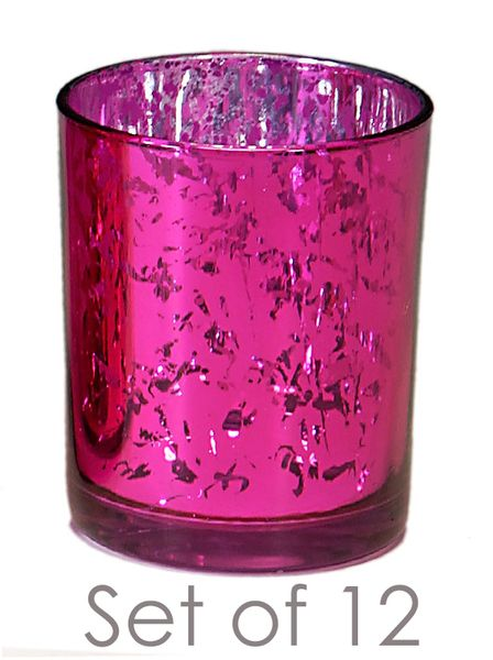 "COMING SOON! Mercury Glass Candle Holders - Round ""Leslie"" Fuchsia - Set of 12 - 2 3/4"" x 3 1/4"""