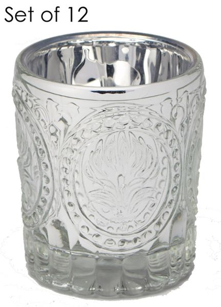 Metallic Silver Embossed Votive Holders - Set of 12