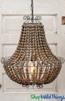Metal, Wood Beaded, Wire Frame Lighting