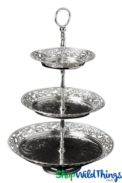 "Metal Cake & Treat Stand - 3 Tier Antique Silver - 13"" Wide x 20"" Tall"