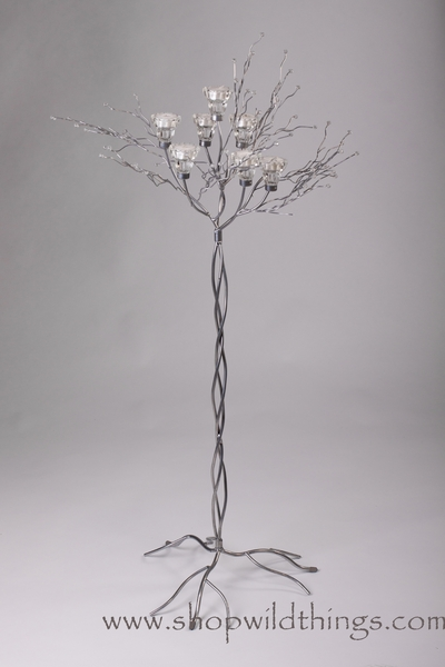 "Metal Candle Tree (SILVER) W/ Clear Beads - 7 cups 57""  Tall"