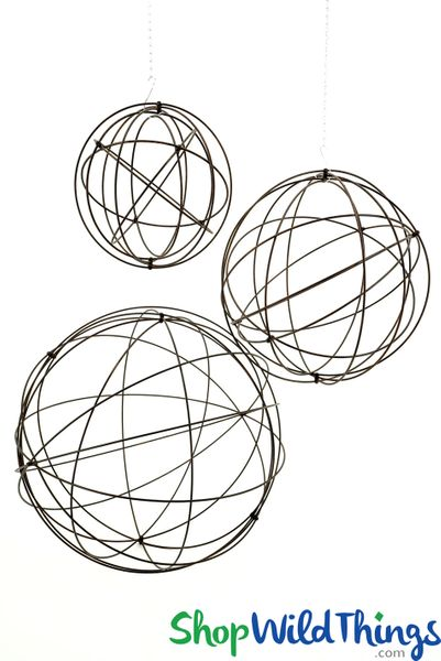 "Metal Heavy Wire Spheres Set of 3 - 28"", 20"", 14"" - Orbs Fold Flat!"