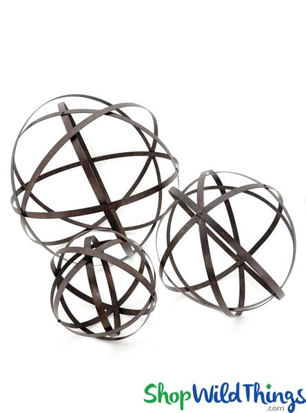 "COMING SOON! Metal Band Spheres Set of 3 - 28"", 19"", 13 1/2"" - Orbs Fold Flat!"
