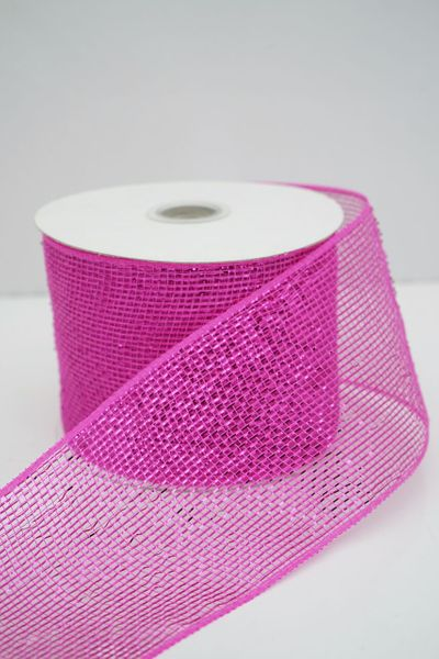 "Metallic Deco Mesh Ribbon, Fuschia Pink With Metallic Foil - 4"" x 25 Yds"