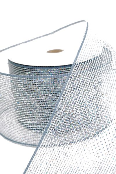 "COMING SOON! Metallic Deco Mesh Ribbon, Silver With Holographic Foil - 4"" x 25 Yds"