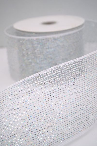 "Metallic Deco Mesh Ribbon, White With Holographic Foil - 4"" x 25 Yds"