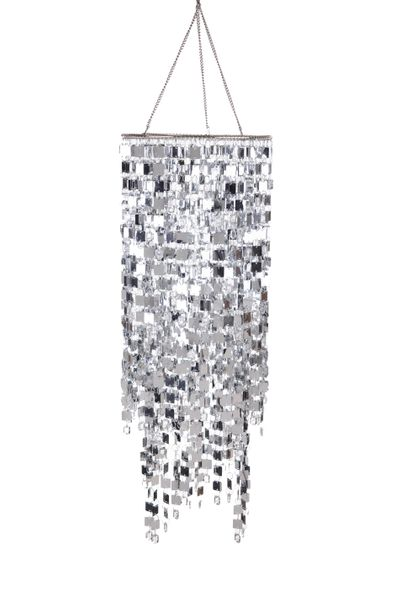 """Chandelier """"Kalina"""" 23.5"""" x 9"""" - Clear Crystals & Silver Squares!"""