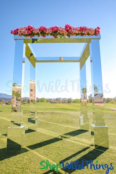 COMING SOON! Mirrored Silver Modern Wedding Chuppah Gazebo - 10' Tall x 8' Square  (4 Legs + 4 Bases + 4 Tops)