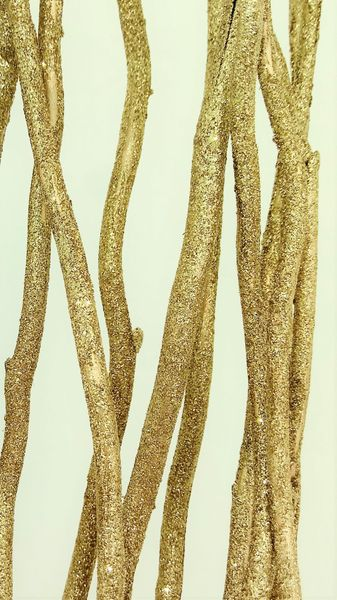 CLEARANCE! Mitsumata Branches Gold Glitter Set of 6 � Each 4' Tall